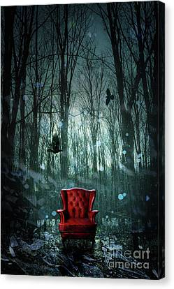 Red Wing Chair In Forest At Twilight Canvas Print by Sandra Cunningham