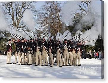 Reenactment Of The Revolutionary War Canvas Print by Stocktrek Images