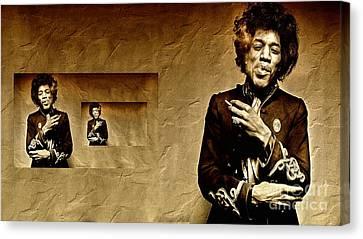 Reflecting On Jimi Hendrix  Canvas Print by Andrea Kollo
