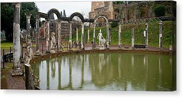Reflecting Pool In Hadrians Villa Canvas Print by Panoramic Images