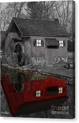 Reflection Of Red Mill Canvas Print by Bill Woodstock