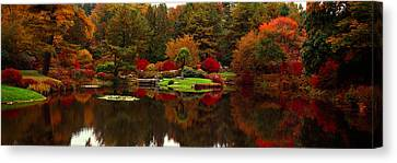 Reflection Of Trees In Water, Japanese Canvas Print by Panoramic Images