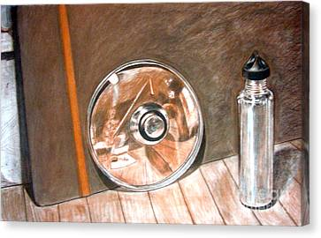 Reflections In Glass And Steel A Still Life Canvas Print by Mukta Gupta