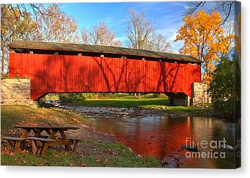 Reflections In The Conestoga River Canvas Print by Adam Jewell