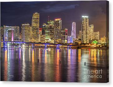 Reflections Of A Miami Skyline Canvas Print by Rene Triay Photography