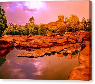 Reflections Of Cathedral Rock Canvas Print by Bob and Nadine Johnston