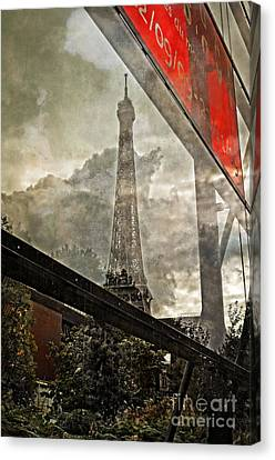 Reflections Of Paris Canvas Print by Mary Machare