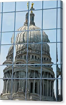 Reflections Of The Capitol Canvas Print by Christi Kraft