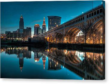 Reflections On The Cuyahoga Canvas Print by At Lands End Photography