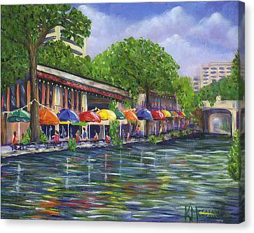 Reflections On The Riverwalk Canvas Print by Kerri Meehan