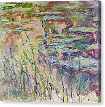 Reflections On The Water Canvas Print by Claude Monet
