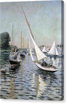 Regatta At Argenteuil Canvas Print by Gustave Caillebotte