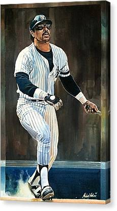 Reggie Jackson New York Yankees Canvas Print by Michael  Pattison