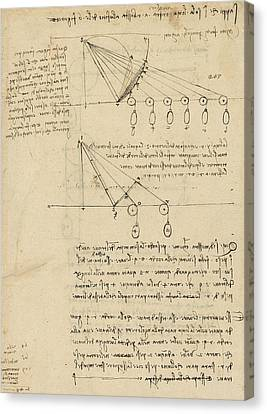 Register Of Milan Cathedral Weight And Study Of Relationship Between Position Of Beam Canvas Print by Leonardo Da Vinci