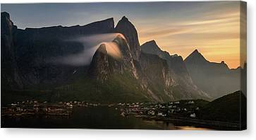 Reine Village With Mountains At Sunset Canvas Print by Panoramic Images