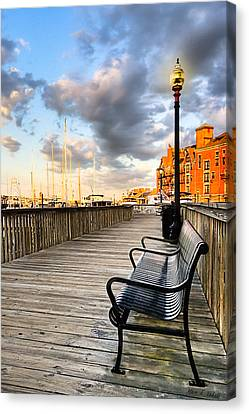 Relax And Watch The Sunset In Boston Canvas Print by Mark E Tisdale