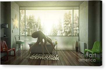 Relaxing Octopus...  Canvas Print by Pixel Chimp