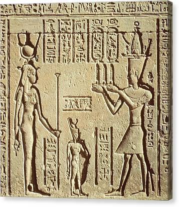 Relief Depicting A Pharaoh Making An Offering To Hathor, From The Roman Birth House, Or Mammisi Canvas Print by Greco-Roman