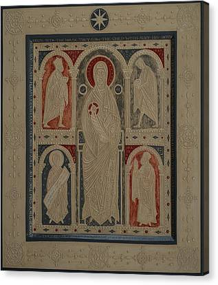 Relief Icon The Nativity Of Christ The Veneration Of The Magi Canvas Print by Olga  Shalamova