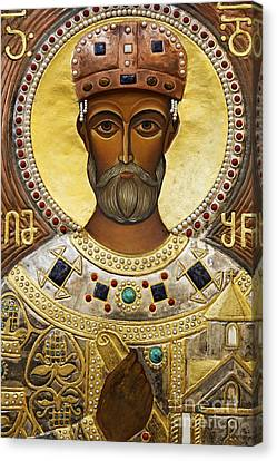 Religious Art Inside The Tsminda Sameba Cathedral Tbilisi Canvas Print by Robert Preston