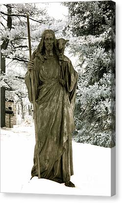 Religious Jesus Statue Holding Lamb Winter Scene Canvas Print by Kathy Fornal