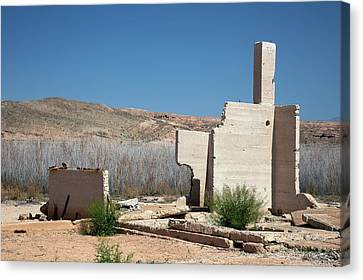 Remains Of House Flooded By Hoover Dam Canvas Print by Jim West