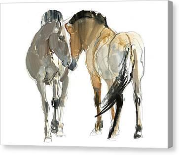 Rencontre Przewalski, 2013, Watercolour And Pigment On Paper Canvas Print by Mark Adlington