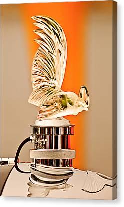 Rene Lalique -coq Nain - 1930 Bentley Speed Six H.j Mulliner Saloon Hood Ornament Canvas Print by Jill Reger