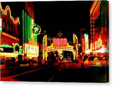 Reno At Night Canvas Print by Michelle Calkins