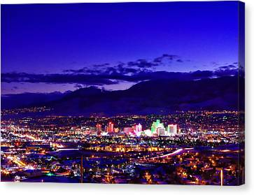 Reno Winter Cityscape Canvas Print by Scott McGuire