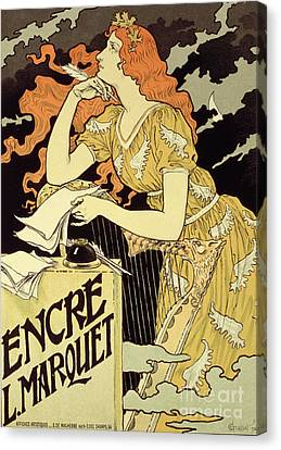 Reproduction Of A Poster Advertising 'marquet Ink' Canvas Print by Eugene Grasset