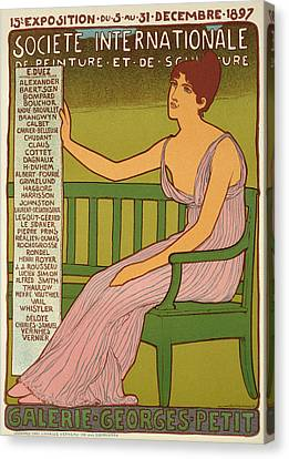 Reproduction Of A Poster Advertising The Georges Petit Gallery Canvas Print by Maurice Realier Dumas