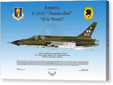 Republic F-105g Thunderchief Canvas Print by Arthur Eggers