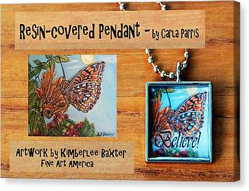 Resin Pendant With Butterfly And Sky Canvas Print by Carla Parris