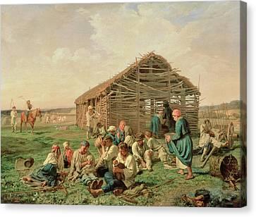Rest During Haying Canvas Print by Aleksandr Ivanovich Morozov