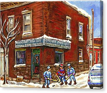 Restaurant Epicerie Jean Guy Pointe St. Charles Montreal Art Verdun Winter Scenes Hockey Paintings   Canvas Print by Carole Spandau