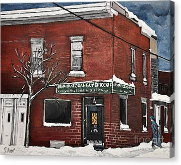 Restaurant Jean Guy  Pte. St. Charles Canvas Print by Reb Frost