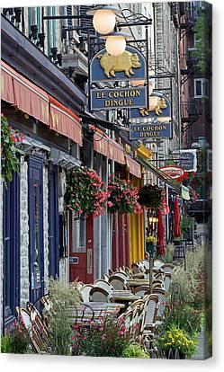 Restaurant Le Cochon Dingue In The Old Port Of Quebec City Canvas Print by Juergen Roth
