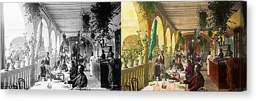 Restaurant - Waiting For Service - 1890 - Side By Side Canvas Print by Mike Savad