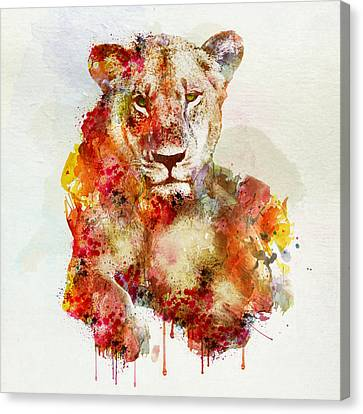 Resting Lioness In Watercolor Canvas Print by Marian Voicu