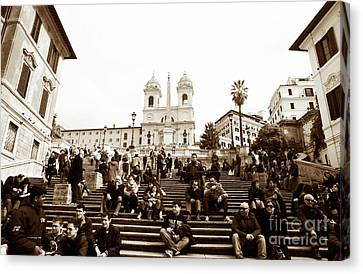 Resting On The Spanish Steps Canvas Print by John Rizzuto