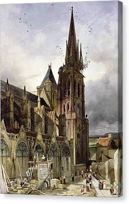 Restoring The Abbey Church Of St. Denis In 1833 Oil On Canvas Canvas Print by Adrien Dauzats