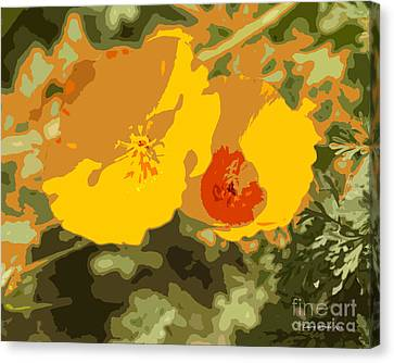 Retro Abstract Poppies 3 Canvas Print by Artist and Photographer Laura Wrede