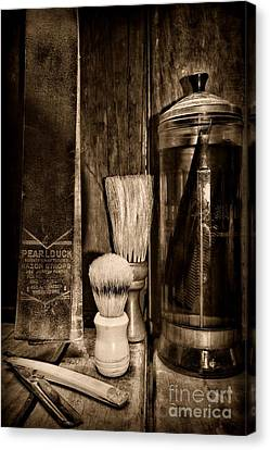 Retro Barber Tools In Black And White Canvas Print by Paul Ward