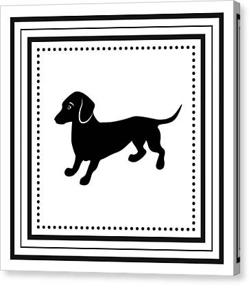 Retro Dachshund Canvas Print by Antique Images
