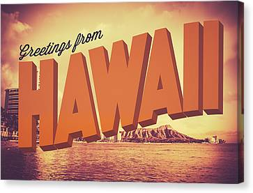 Retro Greetings From Hawaii Postcard Canvas Print by Mr Doomits