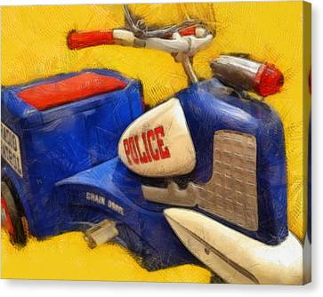 Retro Police Tricycle Canvas Print by Michelle Calkins