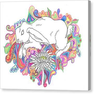 Retro Rabbit Canvas Print by Cherie Sexsmith