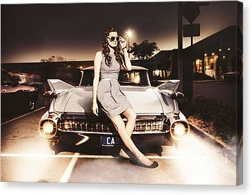 Retro Sixties Pinup Girl On Vintage Car Canvas Print by Jorgo Photography - Wall Art Gallery