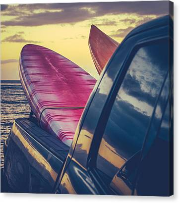 Retro Surf Boards In Truck Canvas Print by Mr Doomits
